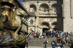 Pilgrims and tourists visit cathedral of Compostela Stock Photo