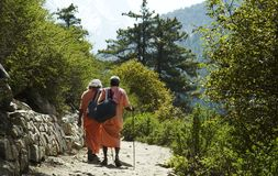 Pilgrims on trail Stock Photography