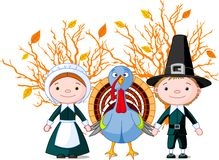 Pilgrims and turkey Royalty Free Stock Photo