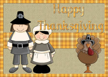 Pilgrims and Turkey Happy Thanksgiving Background. This background or card is designed with two cute pilgrims and a whimsy turkey. Have fun printing your own vector illustration