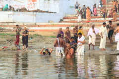Pilgrims in Varanasi, India Stock Photos