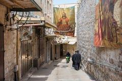 Pilgrims on Via Dolorosa, Jerusalem Royalty Free Stock Photos