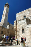 Pilgrims visiting Holy Sepulchre temple,Jerusalem Stock Photos