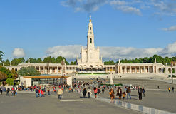 The pilgrims and visitors of Fatima Stock Images