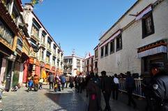 Pilgrims waiting outside Jokhang Royalty Free Stock Photo