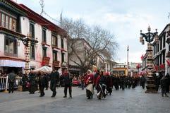 Pilgrims waiting outside Jokhang Royalty Free Stock Image