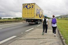 Pilgrims walking to Aparecida-SP (Brazil) Stock Image