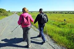 Pilgrims on the way to Santiago, Via de la Plata, province of Badajoz, Spain Stock Photos