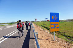 Pilgrims on the way to Santiago, Via de la Plata, province of Badajoz, Spain Royalty Free Stock Photos