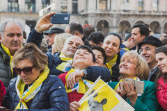 Pilgrims welcome His Holiness Pope Francis Stock Image