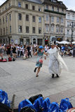 Pilgrims of World Youth Day sing and dance on the Main Square in  Cracow Stock Photography