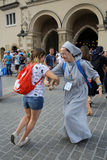 Pilgrims of World Youth Day sing and dance on the Main Square in  Cracow Royalty Free Stock Photos