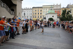 Pilgrims of World Youth Day sing and dance on the Main Square in  Cracow Stock Images