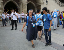 Pilgrims of World Youth Day sing and dance on the Main Square in  Cracow Stock Photos