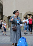 Pilgrims of World Youth Day sing and dance on the Main Square in  Cracow. Royalty Free Stock Photo