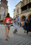 Pilgrims of World Youth Day sing and dance on the Main Square in  Cracow. Stock Photography