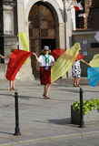 Pilgrims of World Youth Day sing and dance on the St. Maria Magdalena Square in  Cracow Royalty Free Stock Images