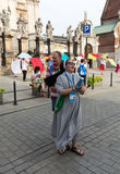 Pilgrims of World Youth Day sing and dance on the St. Maria Magdalena Square in  Cracow Royalty Free Stock Photos