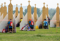 Pilgrims in Zone of Reconciliation at Sanctuary of Divine Mercy in Lagiewniki. WYD participants will be able to confess to more than 50 confessionals. Cracow Royalty Free Stock Photos