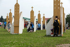Pilgrims in Zone of Reconciliation at Sanctuary of Divine Mercy in Lagiewniki. WYD participants will be able to confess to more than 50 confessionals. Cracow Stock Image