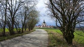 Pilgrimsfärdkyrkan på den Zelena horaen i Tjeckien, UNESCOvärldsarv Arkivfoton