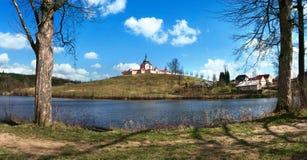 Pilgrimsfärdkyrkan på den Zelena horaen i Tjeckien, UNESCOvärldsarv Royaltyfria Bilder