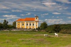 Pilgrimsfärdställe på kullen i Chotec Arkivbilder