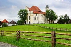 Pilgrimsfärd kyrkliga Wieskirche i Wies, Tyskland Arkivfoto