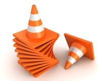 Pilha alaranjada dos cones da estrada do tráfego no branco Fotos de Stock Royalty Free
