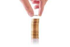 Pilha crescente de moedas Foto de Stock Royalty Free