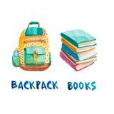 Pilha da aquarela de livros e de trouxa Foto de Stock