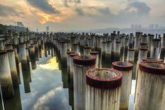 Pilha da construção na opinião do nascer do sol Foto de Stock