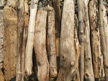 Pilha da pilha da madeira lançada à costa pronta para a fogueira na praia Foto de Stock