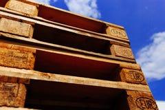 Pilha da pálete do Euro Foco em sinais de EPAL Foto de Stock