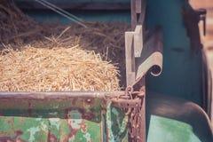 Pilha da palha seca no caminhão com luz solar no campo no estilo do vintage fotografia de stock