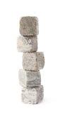 Pilha da pilha das pedras refrigerando do uísque isoladas Fotografia de Stock