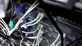 Pilha da rede Atividade da rede no interruptor Indica??o do funcionamento do equipamento de rede Vew de cima de video estoque