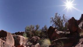 Pilha da rocha do deserto no sol brilhante vídeos de arquivo