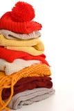 Pilha da roupa morna Fotografia de Stock