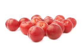 Pilha das ameixas vermelhas múltiplas isoladas Foto de Stock Royalty Free