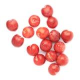Pilha das ameixas vermelhas múltiplas isoladas Imagens de Stock Royalty Free