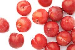 Pilha das ameixas vermelhas múltiplas isoladas Imagem de Stock