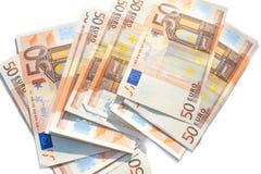 Pilha das cédulas do Euro Substantivo europeu da moeda do dinheiro cinqüênta euro Isolado no branco Imagem de Stock Royalty Free