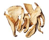 Pilha das fatias secadas do cogumelo de shiitake isoladas no backgro branco Fotografia de Stock