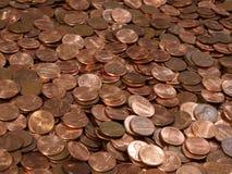 Pilha das moedas de um centavo imagem de stock royalty free