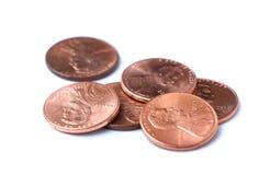 Pilha das moedas de um centavo Fotografia de Stock Royalty Free