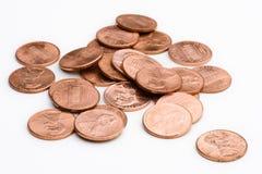 Pilha das moedas de um centavo Imagens de Stock