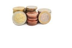 Pilha das moedas gregas do Euro Fotografia de Stock Royalty Free