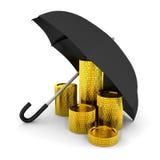 Pilha das moedas sob um guarda-chuva Foto de Stock Royalty Free