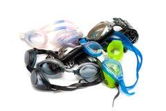 Pilha de óculos de proteção da natação Foto de Stock Royalty Free
